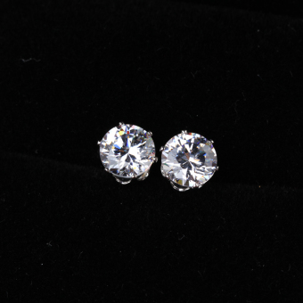 Noble Round Crystal Earring Ear Stud Piercing Jewelry White Gold Plated