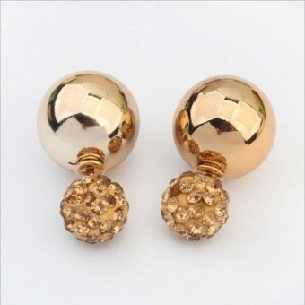 Harga Okdeals Charms Women Double Sides Pearl Earring Two Ball Stud Earrings Gold