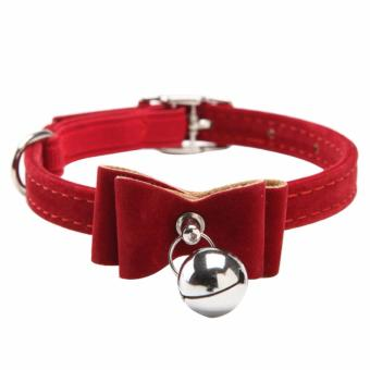 Harga Cat Pet Collar Kitten Velvet Bow Tie Neck Safety Bowtie with Bell (red) - intl