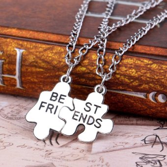Harga Buytra Trendy Best Friends Pendant Necklaces 1Pair Friendship Broken Puzzle Necklaces Silver