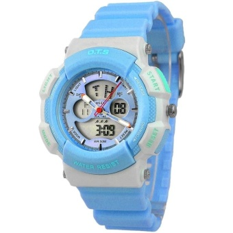Harga O.T.S 8003 Boys Student Multifunctional Wrist Watch Analog Digital Sports Watch LED Display Water Resistant Watch - Sky Blue (small) - intl