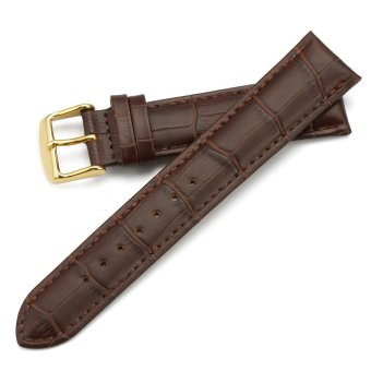 iStrap 22mm Calfskin Replacement Watch Band With Golden Tone Pin Buckle for Men Women - Brown