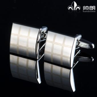 Harga Handsome long pure silver metal square cufflinks new squared cufflinks business men's cufflinks french shirt cuff nail
