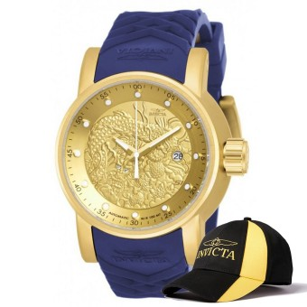 Harga Invicta S1 Rally Men 48mm Case Blue, Beige Silicone Strap Gold Dial Automatic Watch 18215 & Baseball Cap Hat