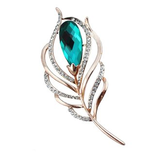 Harga Peacock Feather Brooch Green Crystal Rhinestone Jewelry Brooch Pins for Fashion Women