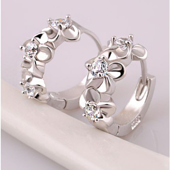 Fashion Women Silver Flower Plated Rhinestone Stud Earrings Hoop Jewelry-