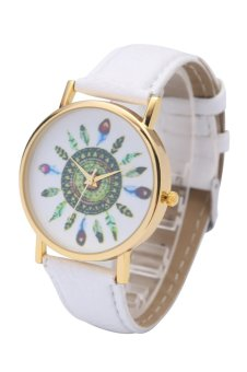 Harga Women's Vintage Indian Feather Dial Leather Quartz Analog Unique Wrist Watches Peacock Ladies Watch Clock (White)