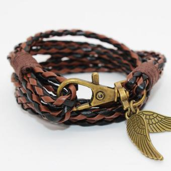 Harga New Arrival Elegant PU Leather Charm Friendship Bracelets Bangles Feather Accessories Wedding Men Jewelry New (Brown&Black) - intl