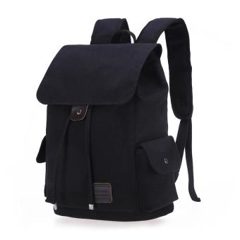 Harga Retro Designer Drawstring Canvas Backpack Rucksack School Bag Travel Bag (Black) - intl