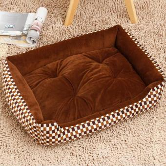 Harga Soft Dog Bed Kennel Mat Sofa Pet House Cats Dogs Bed House Plush Cozy Nest Dog Blanket Cushion ( XS ) (Coffee- Square ) 50x38x15cm - intl