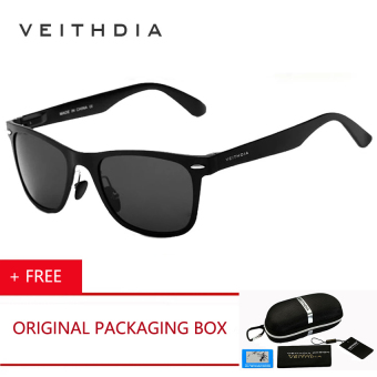 Harga VEITHDIA Brand Aluminum Men's Mirror Polarized Sun Glasses Driving Glass Goggle Eyewear Accessories Sunglasses For Women Men ( Black ) [ Buy 1 Get 1 Freebie ]