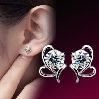Lady Silver Plated Crystal Ear Stud Earrings - intl