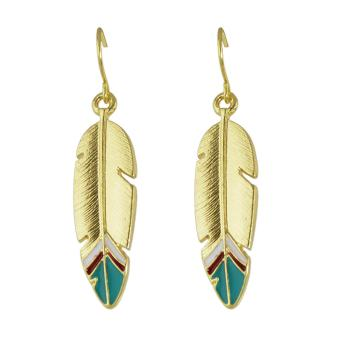 Feelontop Punk Rock Enamel Feather Shape Drop Earrings - intl