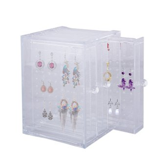 Harga Acrylic 3 Panels Earrings Holder Jewellery Organiser - intl