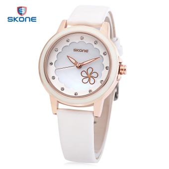 Harga SKONE 9347 Female Quartz Watch Imported Movt Artificial Crystal Flower Pattern Dial Wristwatch (White)