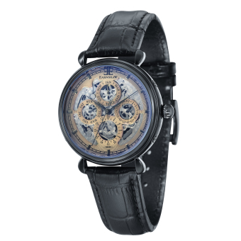 Harga Thomas Earnshaw GRAND CALENDAR ES-8043-06 Men's Black Genuine Leather Strap Watch - intl