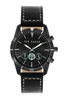 Harga Ted Baker ITE1108 Black Chronograph Leather Watch