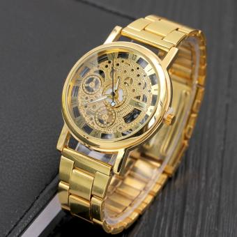Harga (Gold) Men Fashion Wrist watch Alloyr Band Casual Watch Analog Quarzt Wirst Watches Trendy gifts - intl