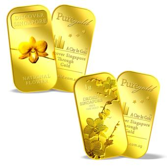 Harga Puregold SG National Flower and SG Orchid (Series 1) (PAIR) Gold Bar 1g x 2