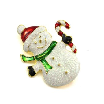 Harga Vanker Xmas Christmas Gift Santa Claus Shirt Decor Alloy Gold-plated Brooch Pin Snowman Style