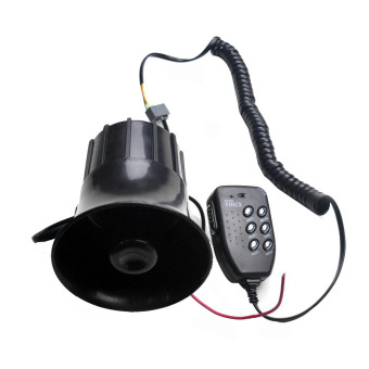 Harga LoveSport 12V 6 Tone Alarm Megaphone Siren Horn Loud Speaker With MIC Car Boat Motorcycle (Black)