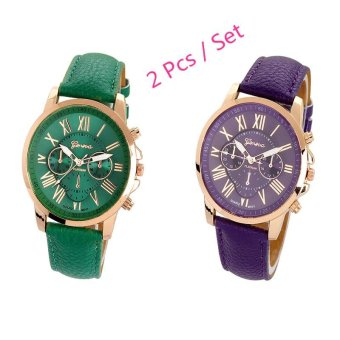Harga Women's Geneva Roman Numerals Faux Leather Analog Quartz Watch 2 Pcs Set ( Dark Green , Purple) - intl