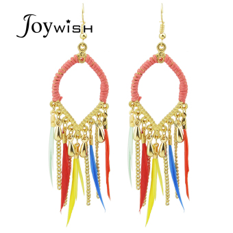 Joywish Bohemian Style Feather Long Drop Chandelier Earrings