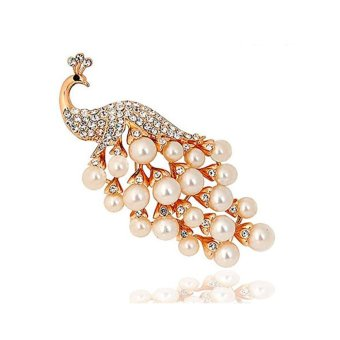 Harga Peacock Phoenix Crystal Pearl Brooch Brooches Pins Bouquet Kit - intl