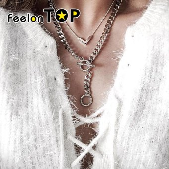 Feelontop Punk Rock Silver Color Double Layers Wide Chain Necklace