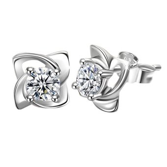 Phoenix B2C Women Wedding Flower Cubic Zirconia 925 Sterling Silver Plated Ear Stud Earrings