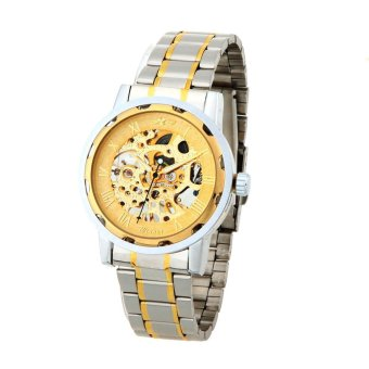 Harga WINNER Gorgeous Automatic Mechanical Watch Gold Dragon Pattern Manual Wind-up Popular Business Wristwatch