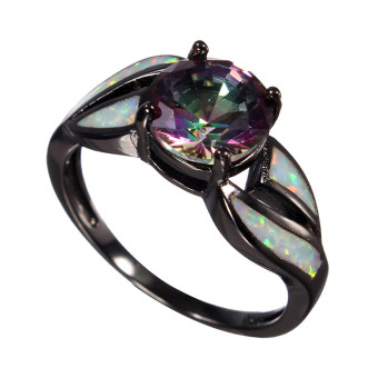 Harga 7-10 Silver Australian Fire Opal Ring Wedding Engagement Cluster Anniversary Black Mode7 - intl
