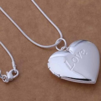 Harga Okdeals Heart LOCKET Photo Charm Pendant Necklace silver