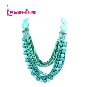 Kayshine Bohemian Style Multilayers Blue Beads Chain Necklace - intl