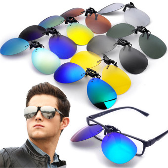 Audew Polarized Clip On Sunglasses Lens Fishing Night Driving UV400 Black+Grey NEW - intl