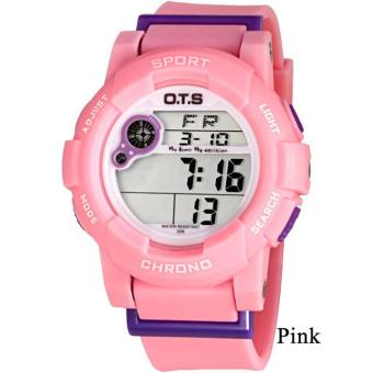Harga Fashion Casual OTS 6977 Waterproof Children Boys Girls Kids Digital Multifunction Quartz Sports Watch LED Alarm Date Wrist Watch - Pink - intl