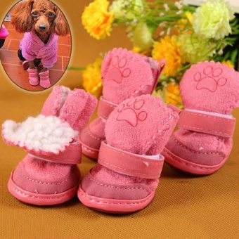 Cute Chihuahua Dog Shoes Puppy Warm Boots Shoes color:Pink size:M - intl