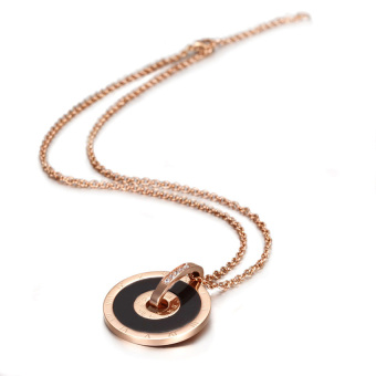 Harga 18K Rose Gold Plated Roman Numeral Clock Clip Pendant Necklace
