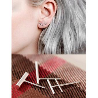 Harga New 2pc Punk Women Simple Tiny fashionable Earrings Stud Cute Bar Earring Stud-Silver - intl