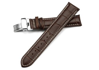 iStrap 21mm Calf Leather Strap Tan Stitched Replacement Watch Band Metal Deployant - Brown 21