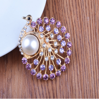 Harga New brooch peacock style diamond brooch career collar clothing accessories