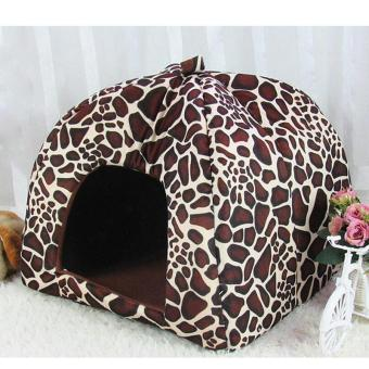 Harga Fleece Dogs Tent Bed Pet House Foldable Soft Warm Strawberry Cave Cat Dog Bed Cute Kennel Nest Dog ( M - Leopard ) 31x31x33CM - intl