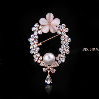 Harga Korea exquisite fashion brooch plant flower cat Head Eagle diamond small crystal pearl brooch party high-grade