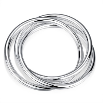 Harga JXGO Three Circles Bracelet Fashion Round Shape Silver Plated Bracelet - intl