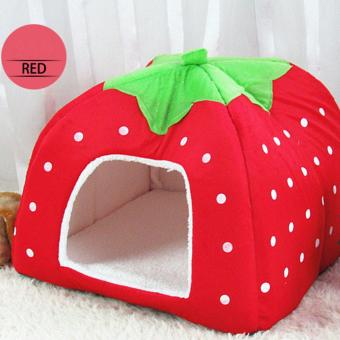 Harga Cute Strawberry Style Foldable Rabbit Cat Dog Doggy Puppy Soft Nest House Bed Kennel Cushion Basket with Warm Plush Pad for Small Pet Red (XXL) - intl