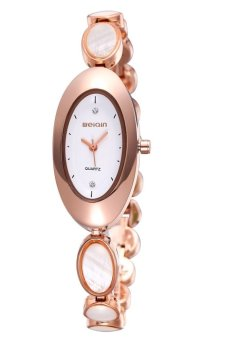 Harga Weiqin Personalized Oval Dial Opal decorative strap women gold color alloy band quartz analog wrist watch(Export)