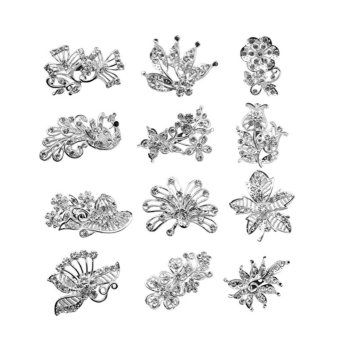 Harga 12pc Lot Crystal Peacock Flower Leaves Brooch Pin Brooches Multi-shaped - intl