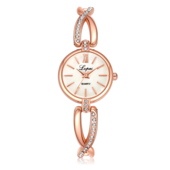 Lvpai Brand Women Crystal Quartz Bracelet Classic Watch (Rose Gold+White) - intl Price in Singapore