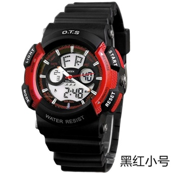 Harga [100% Genuine] O.T.S 8003 Analog Digital Sports Watch Boys Student Multifunctional Wrist Watch - Black Red (small) - intl