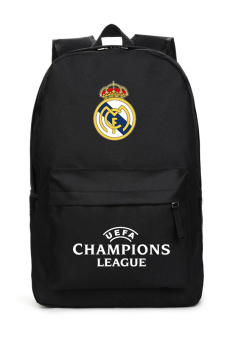 Harga MeYoung Real Madrid Club de Fútbol and UEFA Champions League Logo Backpack (Black)